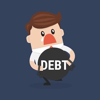 Businessman hugs debt flat design vector.