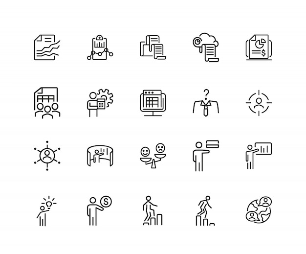 Businessman icons. set of twenty line icons. analysis, new idea, head hunting.