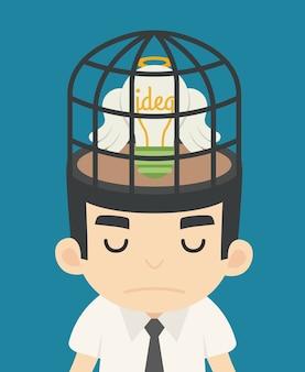 鳥かごの中のビジネスマンのアイデア