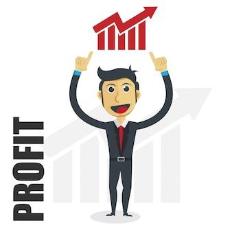 Businessman illustration with profit progress concept.