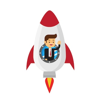 Businessman in a rocket