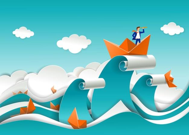 Бизнесмен в лодке на вершине океанской волны вектор вырезать из бумаги иллюстрацию бизнес-стратегии директ ...