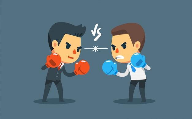 다른 사업가 상대로 싸우는 권투 장갑 사업가. 사업 경쟁