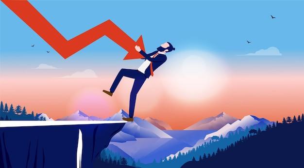 屋外の風景の崖の落下の経済的損失から危険にさらされているビジネスマン