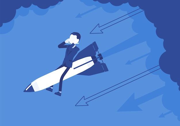 絶望したビジネスマンはロケットで降ります。起業、会社の新しいプロジェクトは失敗、経済的ミスで終わります。問題解決、リスク管理の概念。