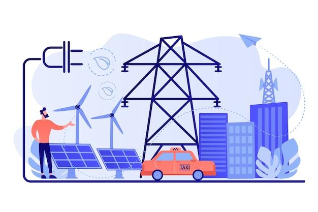 Бизнесмен в зеленом городе и электромобиль, использующий альтернативное топливо
