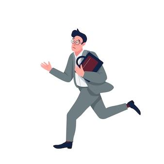 パニックフラットカラーの詳細なキャラクターのビジネスマン