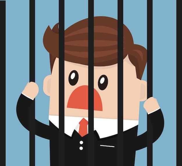刑務所にいるビジネスマン
