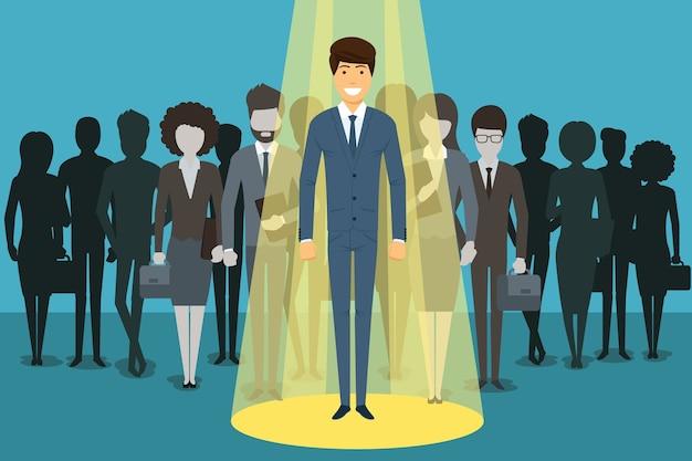 脚光を浴びているビジネスマン。人材採用。人の成功、従業員およびキャリア。