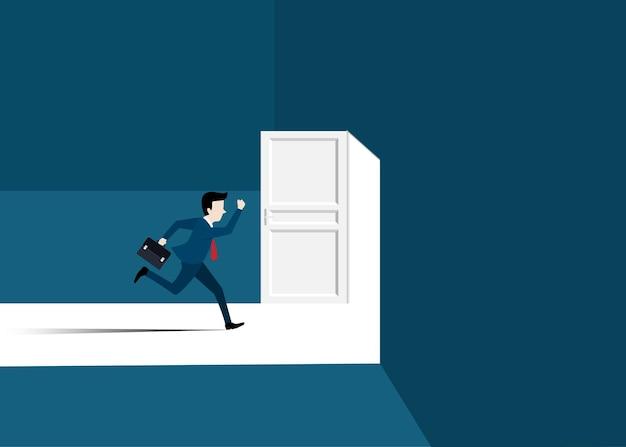 Бизнесмен в костюме, бегущий к открытой двери. мужчина открывает дверь в поисках работы. концепция успеха в бизнесе. концепция мотивации и запуска. начало деловой карьеры. векторная иллюстрация плоский дизайн