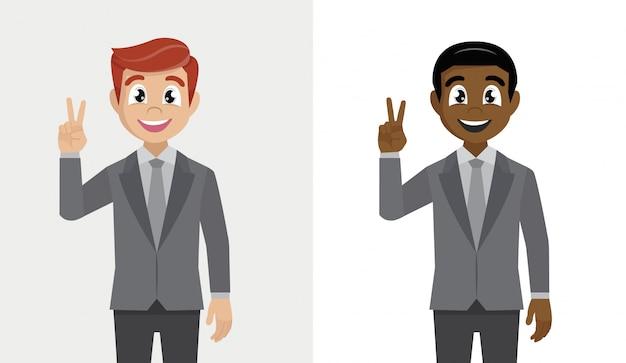 スーツのビジネスマンは彼の指に勝利の兆候を示しています。