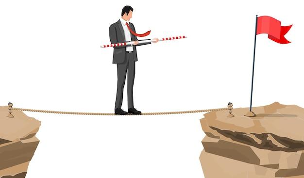 Бизнесмен в костюме, ходить по веревке с балансирной палкой. деловой человек, идущий по канату. препятствие на дороге, финансовый кризис. задача управления рисками. векторная иллюстрация в плоском стиле