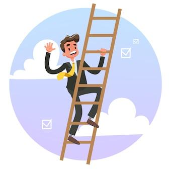 はしごを登るスーツのビジネスマン。