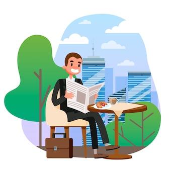 Бизнесмен в костюме, сидя за столом в кафе