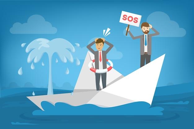 Бизнесмен в костюме стоит в лодке, которая тонет.