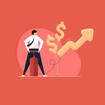 Бизнесмен надувает стрелку и доллар