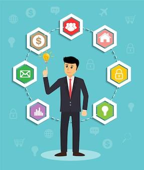 ビジネスマンのインフォグラフィック、テキストボックス、バナー
