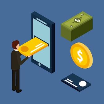 携帯電話の現金にクレジットカードを挿入するビジネスマン
