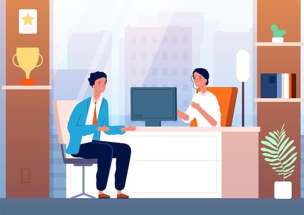 Интервью с бизнесменом. мужской персонаж в человеке набора босса кабинет.