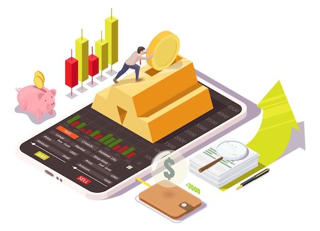 Businessman investing money in stock market, bank deposit, gold ingot from mobile phone, vector isometric illustration.