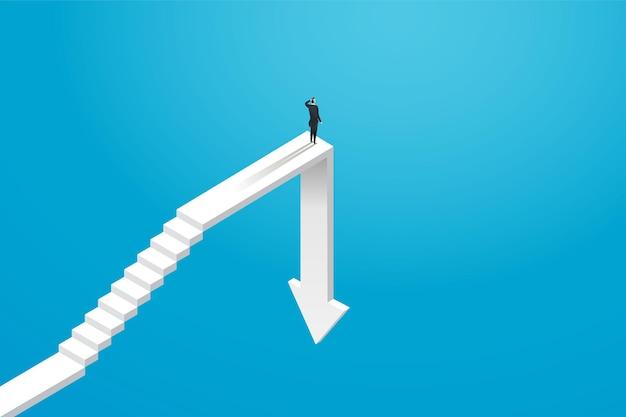 Бизнесмен-инвестор преодолевает экономический спад, а не добивается успеха. иллюстрация вектор