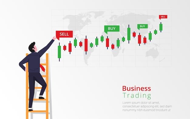 ビジネスマンは、棒グラフへの投資を表示および分析することを目的として、はしごを登っています。ローソク足チャートグラフィックのインジケーターを売買します。ビジネス取引イラスト