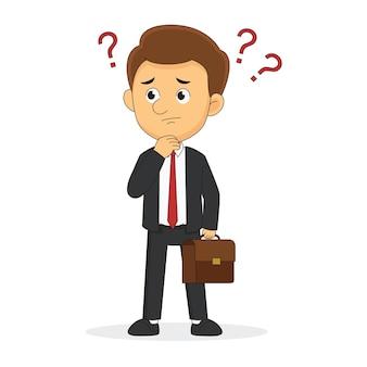 Бизнесмен в замешательстве, мышление, знак отказа