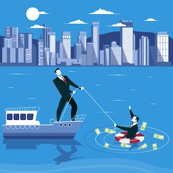 Businessman is drowning and ask for help from his partner business failure concept vector illustration