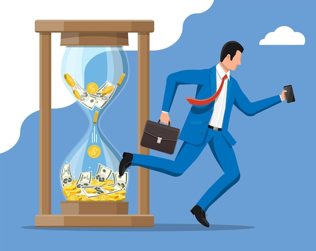 Businessman is fast running with waving necktie and briefcase near hourglass. time management.