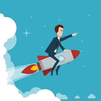 ビジネスマンは星空の雲に対してロケットで飛んでいます。