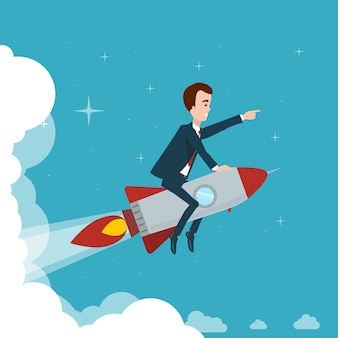 Businessman is flying on rocket through clouds against of star sky