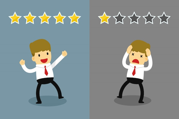 Businessman is happy with five star rating and unhappy with one star rating.