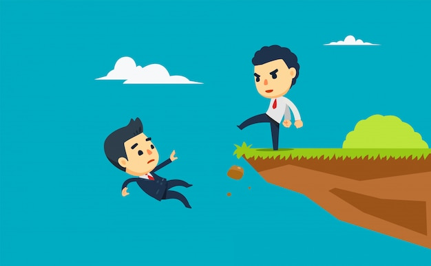 A businessman is kick another one from the cliff. vector illustration