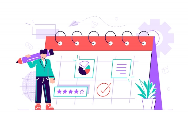 Businessman is planning his work. modern concept for business planning, news and events, reminder and timetable. woman at calendar with big pen. flat design style  illustration.