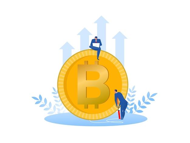 사업가 bitcoins 성장 cryptocurrency 개념을 펌핑