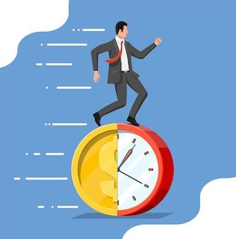 사업가 달러 동전 시계에서 실행 됩니다. 시계와 황금 동전입니다. 연간 수익, 금융 투자, 저축, 은행 예금, 미래 소득, 금전적 혜택. 시간은 돈이다. 평면 벡터 일러스트 레이 션 프리미엄 벡터