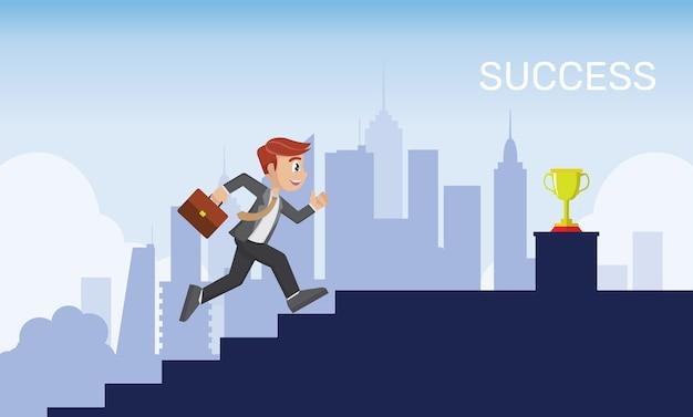 ビジネスマンは階段のゴールに行く上に実行されています。