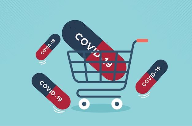 ビジネスマンはコロナウイルスまたはcovid19ベクトルのスーパーマーケットのカートと薬で実行されています