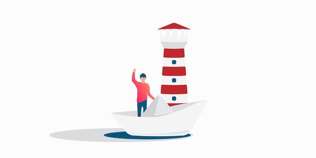 Бизнесмен плывет на бумажном кораблике в океане