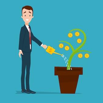 사업가 서 고 황금 물을 수에서 돈 나무를 급수. 금화와 식물
