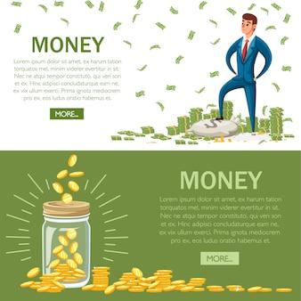 Бизнесмен стоит на куче денег. золотые монеты в банке. банкноты зеленого доллара. иллюстрация с зеленой кнопкой. накопление денежной концепции. страница веб-сайта и мобильное приложение