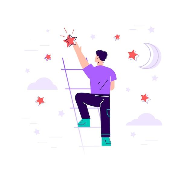 ビジネスマンは階段の上に立って、空の星-フラットイラストに到達します。目標と夢。ビジネスとキャリアの概念。モダンなデザインのフラットスタイルのイラストが分離されました。
