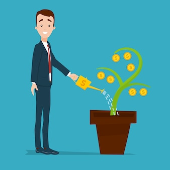 Businessman is standing and watering money tree from golden watering can. plant with gold coins