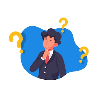 Businessman is thinking the idea illustration
