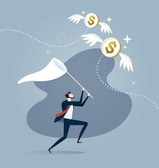 ビジネスマンはスクープネットで飛んでドル硬貨をキャッチしようとしています。事業コンセプト