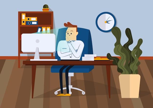 사업가 사무실의 자에 앉아 화가입니다. 그는 컴퓨터 모니터를 보고 있습니다. 전면보기. 색 벡터 평면 그림