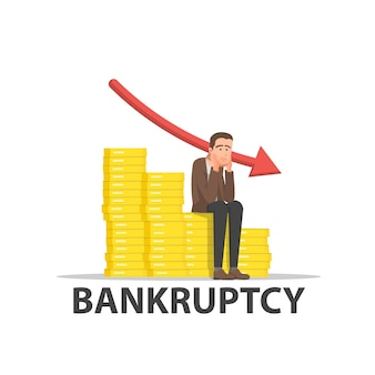 Businessman is very sad because of bankruptcy