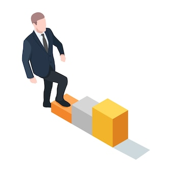 Businessman is walking up the stairs, career ladder, way to success