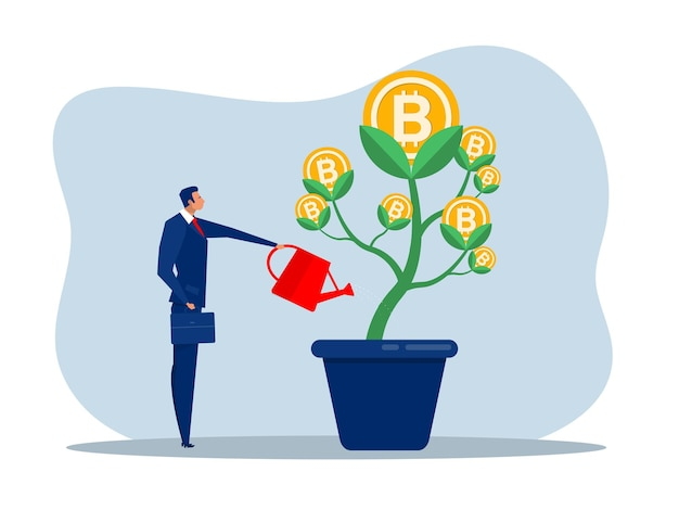 Businessman is watering bitcoin tree to grow business. increasing and growth business flat concept illustration.