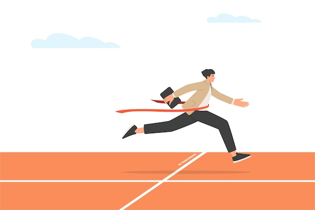 Businessman is the winner in the race. a man at the finish of a treadmill. business success concept. vector illustration in trendy flat style